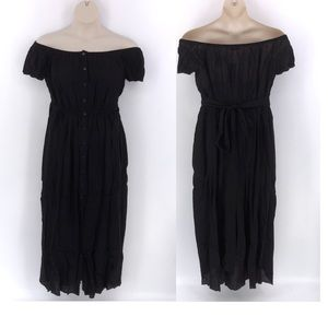 Signature 8 Black Off the Shoulder Maxi  Dress M